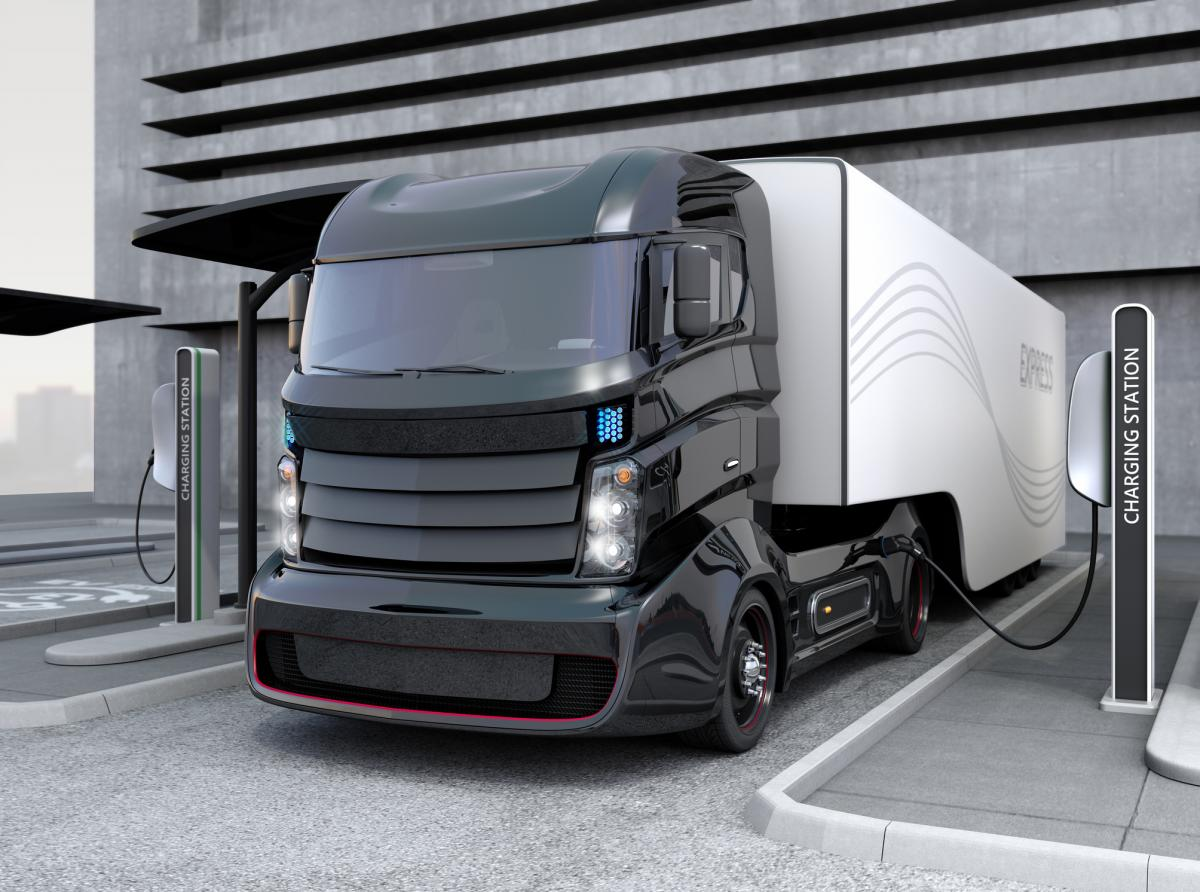 Hybrid Electric Truck Stock Image