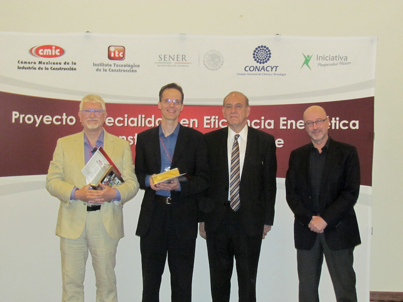 Image of Berkeley Lab researchers Philip Haves and Christian Kohler with the Director of the Technological Institute for Construction, Raymundo Caballero, and  the CEO of the Initiative for Education and Prosperity for Mexico, Sergio Garcia-Bulle [left to right]