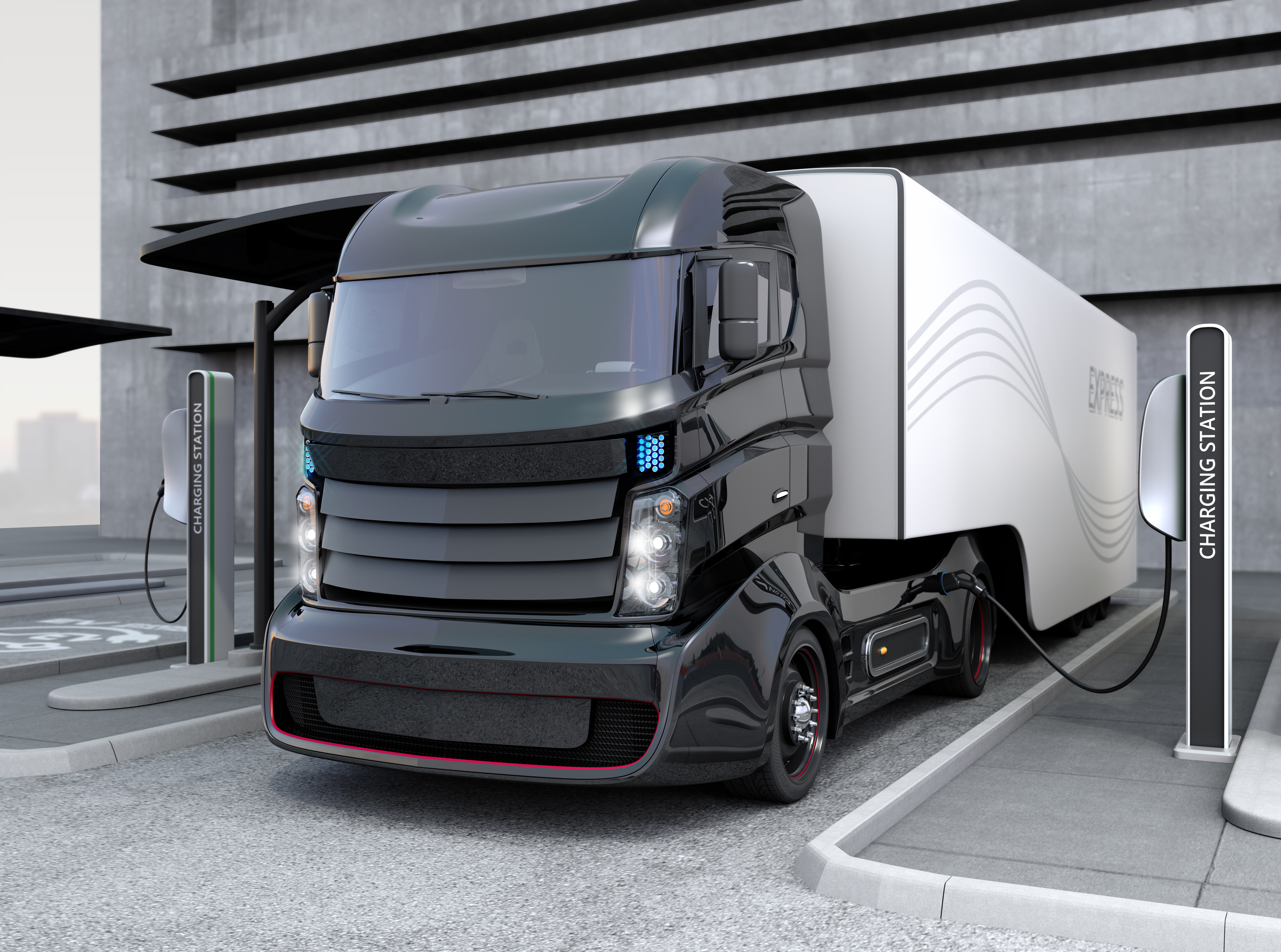 Electric long-haul trucks and fast-charging infrastructure offer a way towards zero-emissions commercial trucks. (Credit: Chesky_W/iStock)